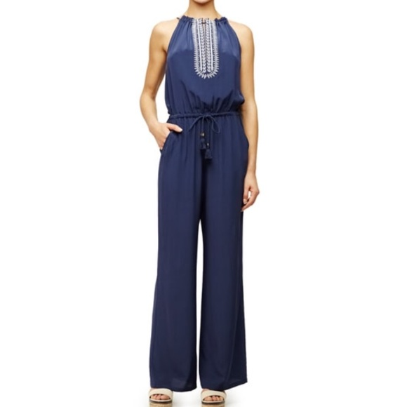 02fad799f Tory Burch Navy silk embroidered jumpsuit. M 5aa496eb46aa7c0a39951842